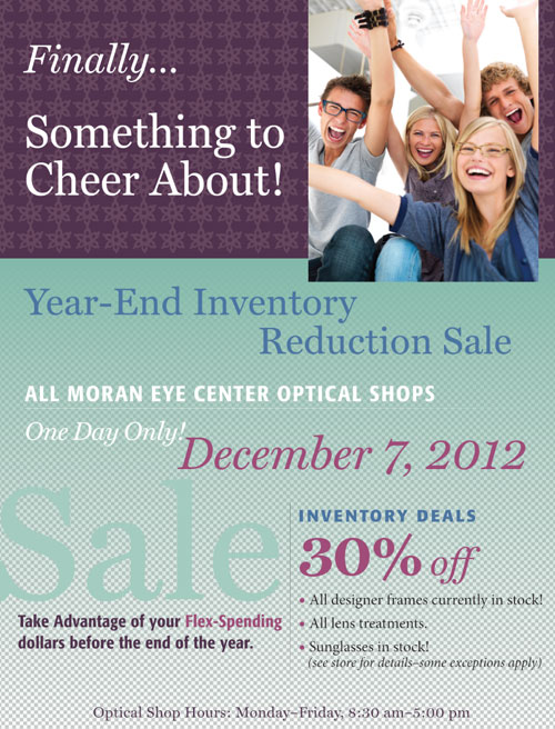All Moran Eye Center Optical Shops' Year-End Inventory-Reduction Sale
