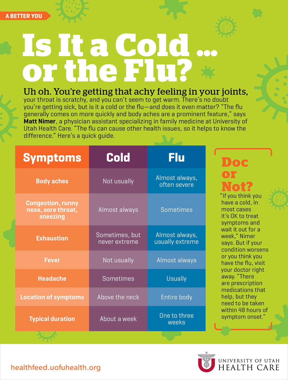is it a cold or the flu university of utah health