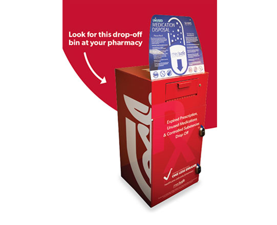 Red medication disposal kiosk for expired, old, or unused medications