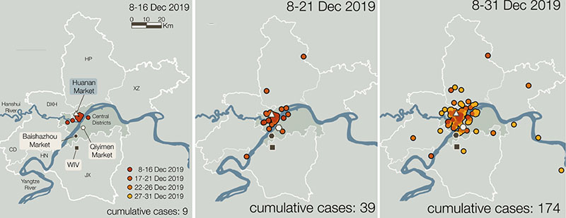 Maps showing the geographic locations of the first COVID-19 cases in Wuhan, China.